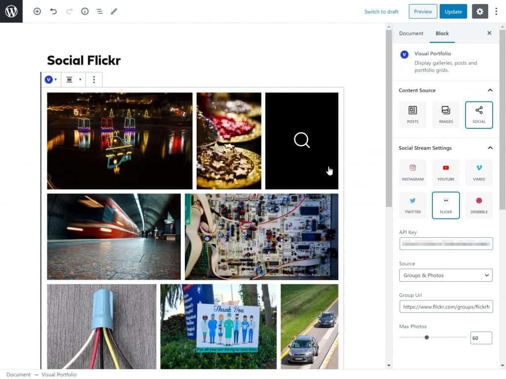 Portfolio gallery with Youtube, Flickr, Twitter, Vimeo, Dribbble, Google Photos